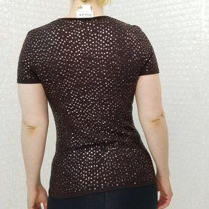 Oscar de la Renta Tops - Oscar de la Renta chocolate sequin silk shirt